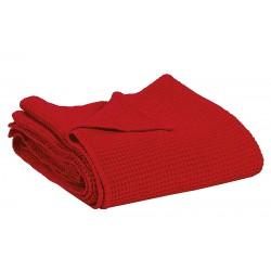 Couvre-lit Vivaraise en coton gaufré MAIA coloris TANGO