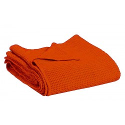 Couvre-lit Vivaraise en coton gaufré MAIA coloris CITROUILLE