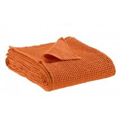Couvre-lit Vivaraise en coton gaufré MAIA coloris CLEMENTINE