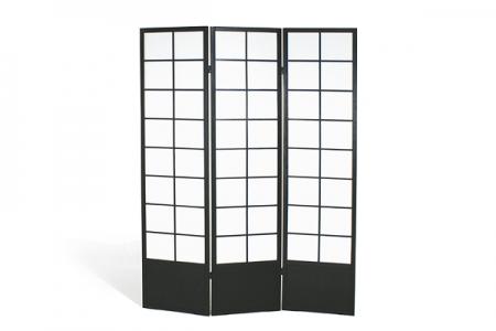 Paravent 3 panneaux bois noir