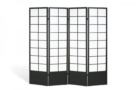 Paravent 4 panneaux bois noir