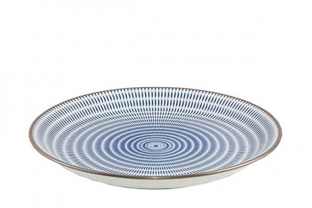 Assiette lignes bleues